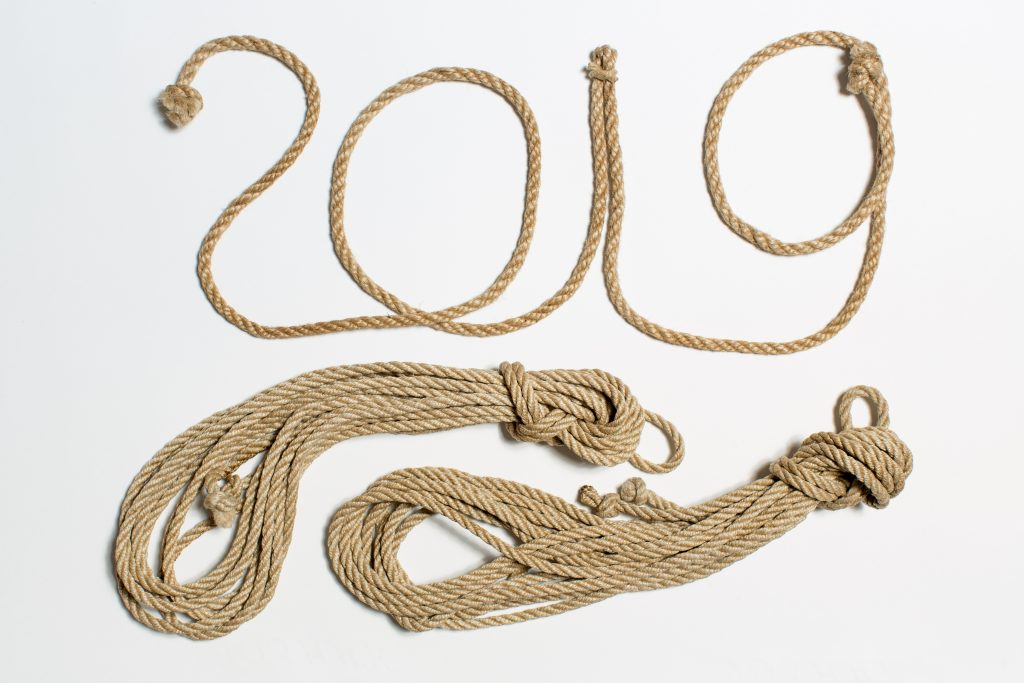 """2019"" formed with rope"